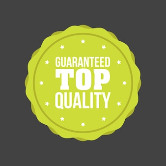 Vector guaranteed top quality flat badge sign, round label.