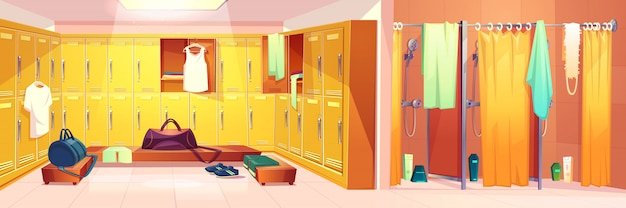 Vector gym interior - changing room with lockers and shower cabins with curtains