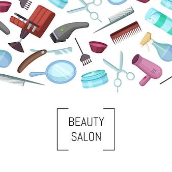 Вектор парикмахер или парикмахер мультфильм элементы фона с местом для текста иллюстрации