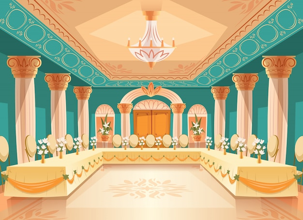 Vector hall for banquet, wedding. interior of ballroom with tables, chairs for feast, celebration or