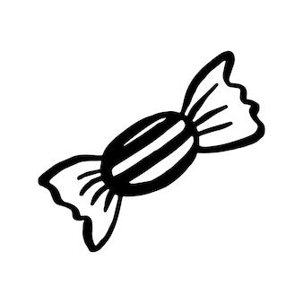 Векторный клипарт хэллоуин конфеты. забавная, милая иллюстрация для сезонного дизайна, текстиля, украшения детской игровой комнаты или поздравительной открытки. рисованной принты и каракули.