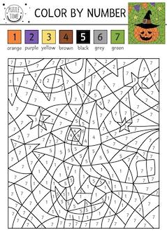 Вектор хэллоуин цвет по числовой активности с милым тыквенным фонарем в шляпе волшебника. осенний праздник раскраски и подсчет игры. забавная раскраска для детей с фонариком из тыквы.