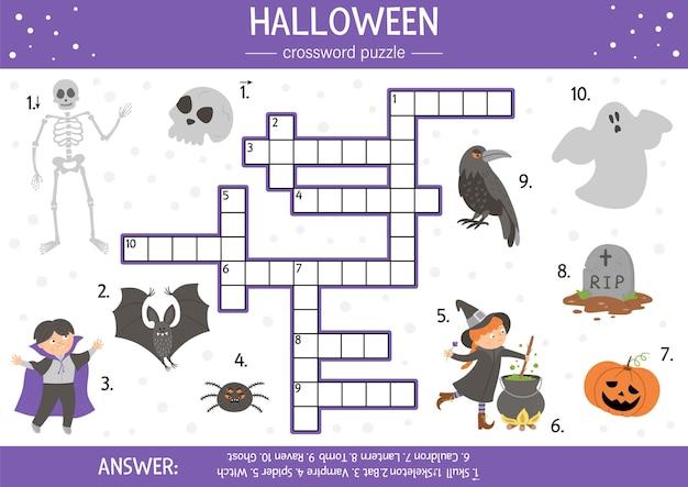 아이들을 위한 벡터 할로윈 크로스워드 퍼즐입니다. 어린이를 위한 모든 성인의 날 개체와 간단한 퀴즈. 마녀, 유령, 무덤, 뱀파이어와 같은 전통적인 무서운 물건으로 교육 활동