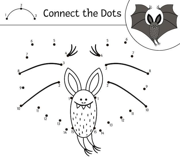 Вектор хэллоуин точка-точка и цветная деятельность с милой летучей мышью. осенний праздник игра соедини точки. забавная раскраска для детей со страшным животным.