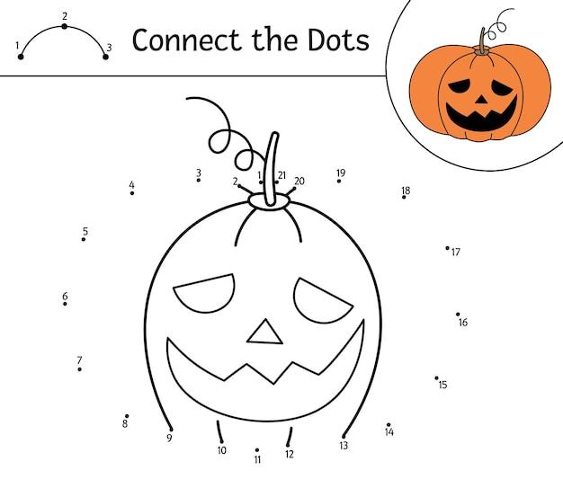 Вектор хэллоуин точка-точка и цветная деятельность с милым тыквенным фонарем. осенний праздник игра соедини точки. прикольная раскраска для детей с фонариком из тыквы.