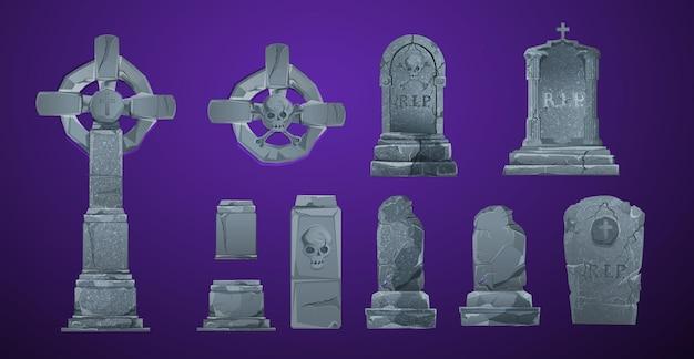 벡터 할로윈 요소 및 디자인 프로젝트를 위한 개체입니다. 할로윈을 위한 묘비. 고대 rip. 어두운 배경에 무덤