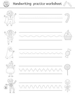 Рабочий лист практики рукописного ввода хэллоуина вектора. черно-белая распечатка для детей дошкольного возраста. обучающая игра для развития навыков письма с детьми и угощения сладостями