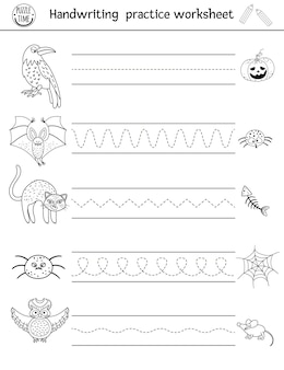 Vector halloween handwriting practice worksheet. printable black and white activity for pre-school children. educational game for writing skills development with scary animals