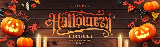 Vector of halloween poster or banner with halloween pumpkincandlelight and halloween elements