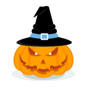 Вектор хэллоуин тыква в шляпе ведьмы. плакат вечеринки halloweeen. значок хэллоуина. элементы дизайна для рекламы и продвижения. плоские иллюстрации шаржа. объекты, изолированные на белом фоне.