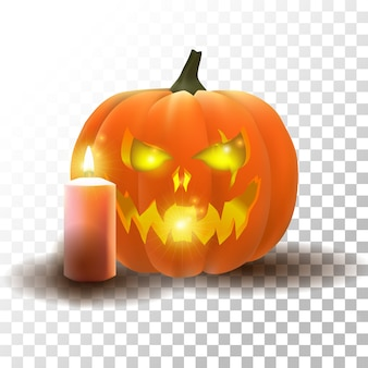 Vector halloween pumpkin with candle