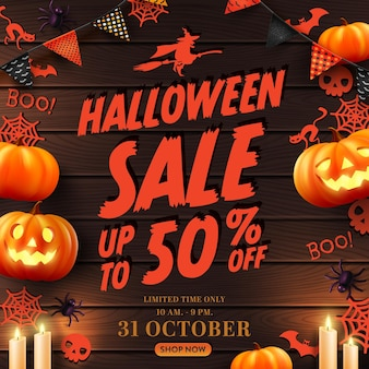 Vector of halloween sale poster or banner with halloween pumpkinghost and halloween elements