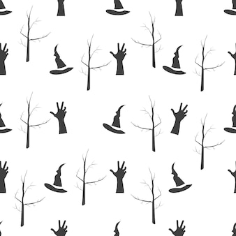 Vector halloween seamless pattern. witch hat, scary zombie hand and dead tree. objects isolated on a white background.