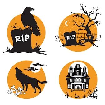 벡터 할로윈은 할로윈 까마귀, 나무가 있는 무덤, 늑대인간, 유령의 집 캐릭터가 있는 삽화를 설정했습니다.