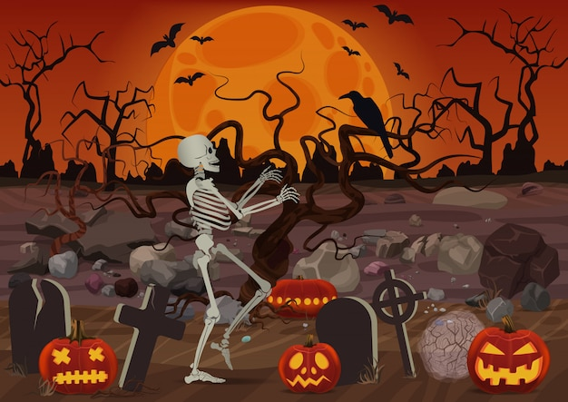 Vector halloween skeleton walking near the cemetery near pumpkins and horror forest in night.