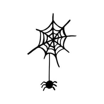 Векторный клипарт хэллоуин паутина. забавная, милая иллюстрация для сезонного дизайна, текстиля, украшения детской игровой комнаты или поздравительной открытки. рисованной принты и каракули.