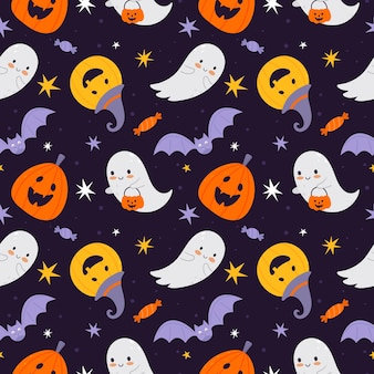 Vector halloween texture in a flat style on a blue background. suitable for baby fabrics, textiles, wrapping paper