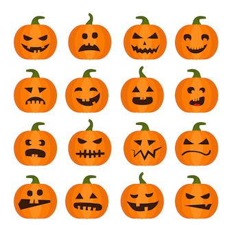 Vector halloweens pumpkin set