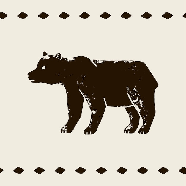 グランジスタイルの白い背景の上のクマのベクトル手描きイラスト。野生のクマのシルエット。野生生物と森のシンボル。ヴィンテージグリズリーラベル、tシャツプリント