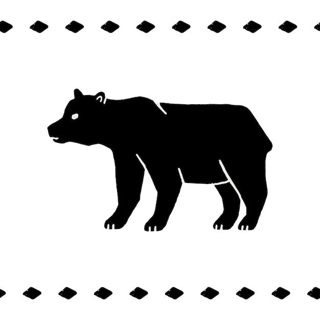 シンプルなスタイルで白い背景の上のクマのベクトル手描きイラスト。野生のクマのシルエット。野生生物と森のシンボル。ヴィンテージグリズリーラベル、tシャツプリント