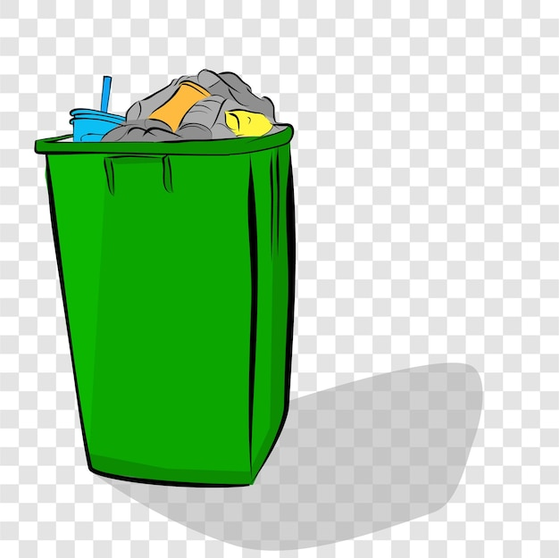 Vector hand draw sketch full and dirty trash bin with shadow at transparent effect background