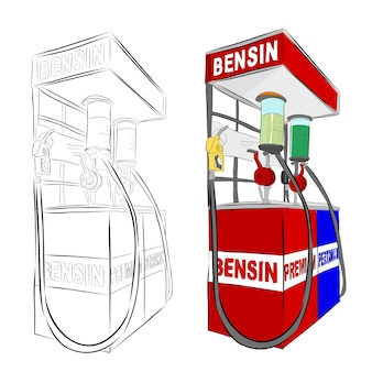Vector hand draw sketch, indonesia mini gas station or usually called pertamini, isolated on white Premium Vector