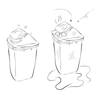 2つのゴミ箱のベクトル手描きスケッチ、プラスチック製のモダンで清潔で汚れた、白で隔離