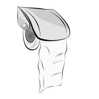 ロールトイレットペーパーのベクトル手描きスケッチ