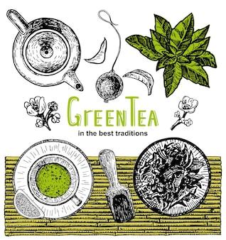 ベクトル手描き茶茶店バナーセットバナー茶デザイン緑茶カードメニュー背景デザイン