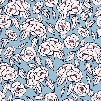 ベクトル手描きペンブラシストロークアウトラインシンプルな花のイラストシームレスな繰り返しパターン