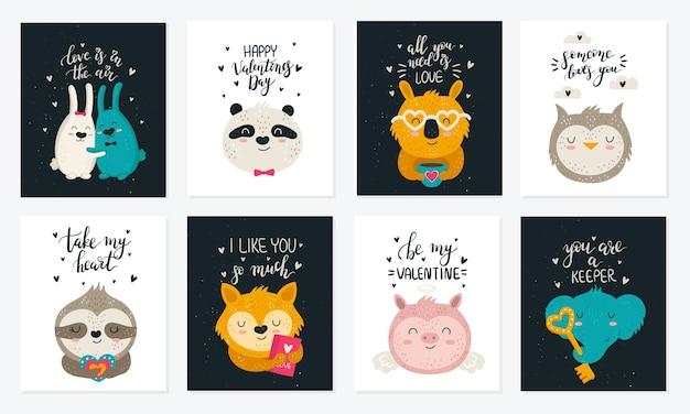 귀여운 동물과 슬로건 낙서 일러스트와 함께 벡터 손 그리기 포스터 컬렉션