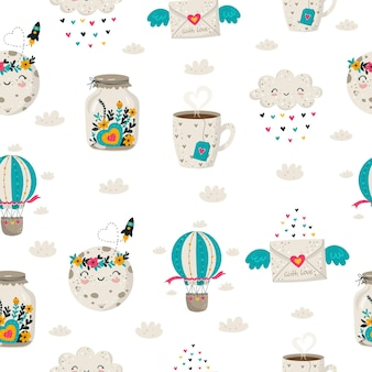 Vector hand drawing seamless pattern background with cute doodle illustrations