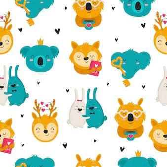 かわいい動物とシームレスなパターンを描くベクトル手描き落書き背景