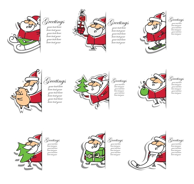 Vector hand drawing trendy abstract illustrations of holiday cards of merry christmas and happy new year with santa claus , christmas tree and lettering.
