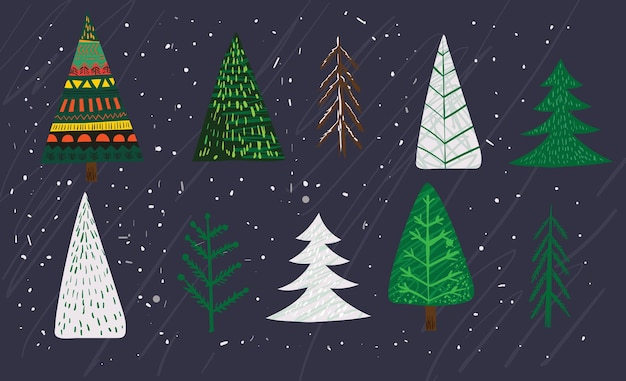 クリスマスツリー、冬の森、レタリングとメリークリスマスとハッピーニューイヤー2022年のホリデーカードのトレンディな抽象的なイラストを手描きベクトル。