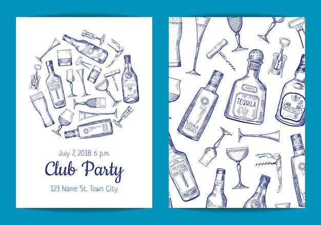 Vector hand drawn alcohol drink bottles and glasses card