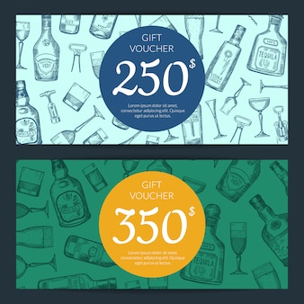 Vector hand drawn alcohol drink bottles and glasses discount or gift card voucher templates illustration