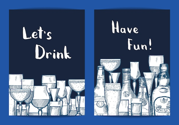 Vector hand drawn alcohol drink bottles and glasses set of card templates for bar or night club illustration