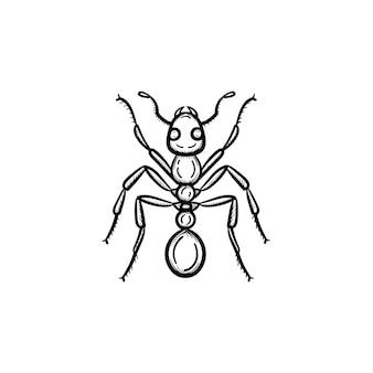 벡터 손으로 그린 개미 개요 낙서 아이콘입니다. 인쇄, 웹, 모바일 및 흰색 배경에 고립 된 인포 그래픽에 대 한 개미 스케치 그림.