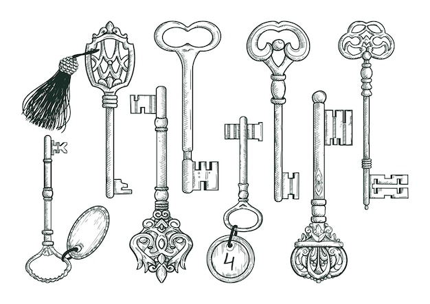 Vector hand drawn antique keys.