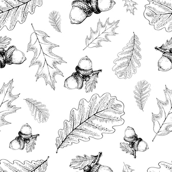 Vector hand drawn autumn leaves. seamless pattern.