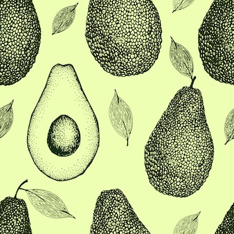 Vector hand drawn avocado seamless pattern. whole avocado, sliced pieces, half, leaf and seed sketch. vintage style background. detailed food drawing.