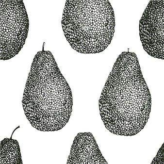 Vector hand drawn avocado seamless pattern. whole avocado. vintage style background. detailed food drawing.
