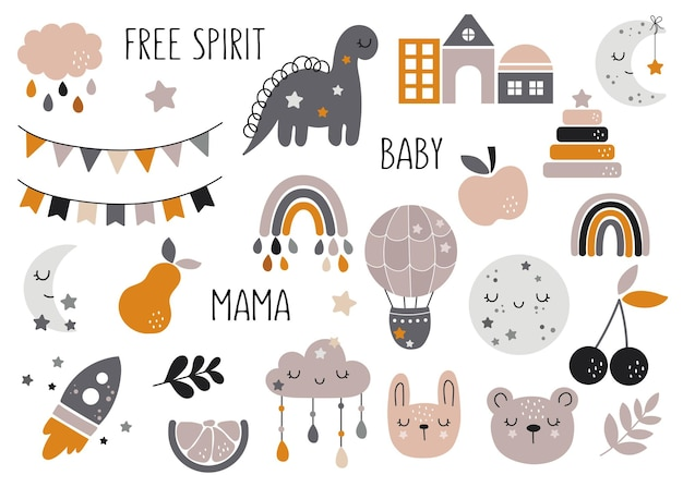 Vector hand drawn baby collection for nursery decoration with cute rainbows fruit bunting