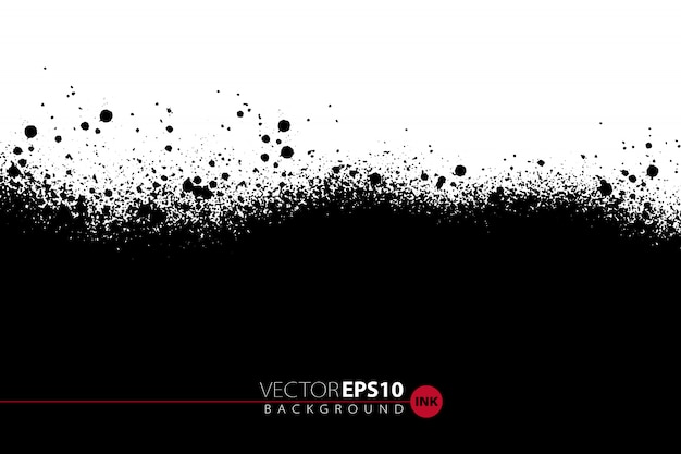 Vector hand drawn background with ink painted splashes and blots.