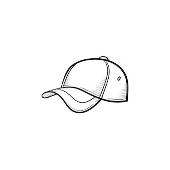 벡터 손으로 그린 야구 모자 개요 낙서 아이콘입니다. 흰색 배경에 고립 된 인쇄, 웹, 모바일 및 infographics에 대 한 야구 모자 스케치 그림.