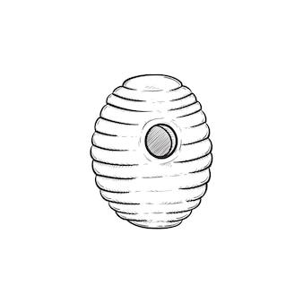 벡터 손으로 그린 비 하이브 개요 낙서 아이콘입니다. 흰색 배경에 고립 된 인쇄, 웹, 모바일 및 infographics에 대 한 꿀벌 하이브 스케치 그림.