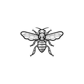 벡터 손으로 그린된 꿀벌 개요 낙서 아이콘입니다. 흰색 배경에 고립 된 인쇄, 웹, 모바일 및 infographics에 대 한 꿀벌 스케치 그림.