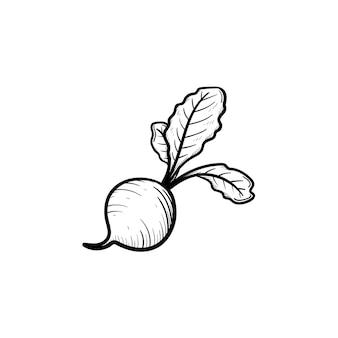 벡터 손으로 그린된 사탕 무 우 개요 낙서 아이콘입니다. 흰색 배경에 고립 된 인쇄, 웹, 모바일 및 infographics에 대 한 음식 스케치 그림.