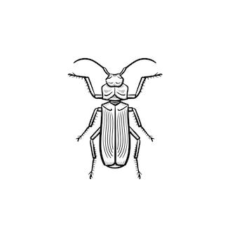 벡터 손으로 그린된 비틀 개요 낙서 아이콘입니다. 흰색 배경에 고립 된 인쇄, 웹, 모바일 및 infographics에 대 한 딱정벌레 스케치 그림.